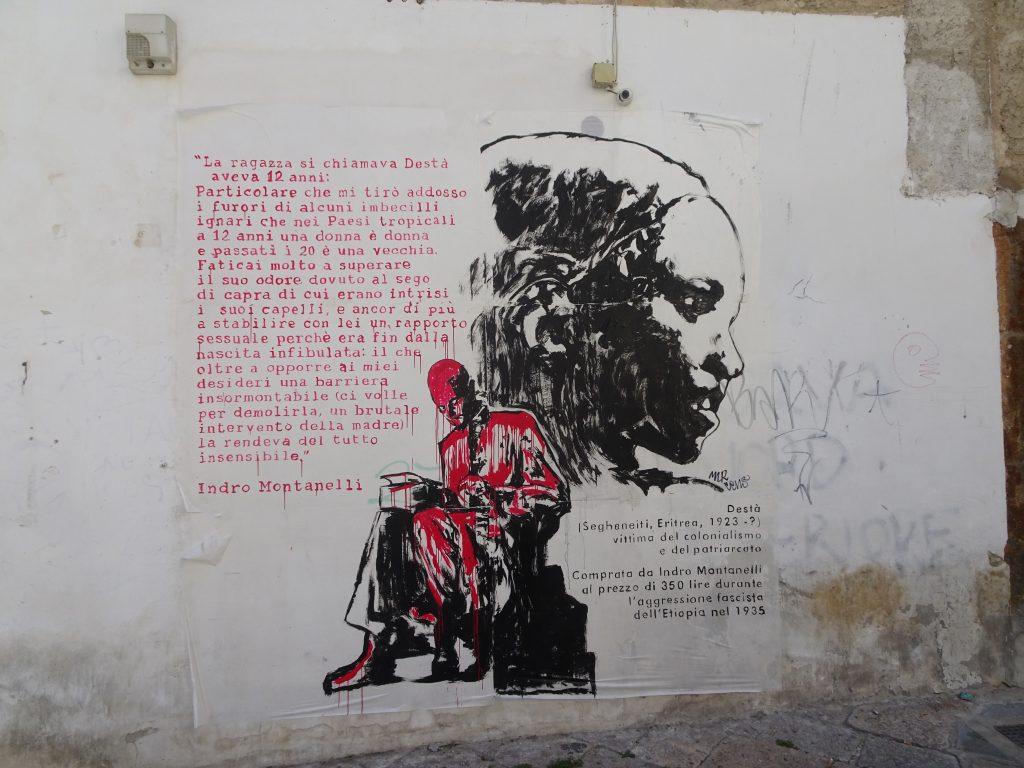 Un murale è apparso su un muro nel Vecchio Centro di Palermo dedicato a Indro Montanelli